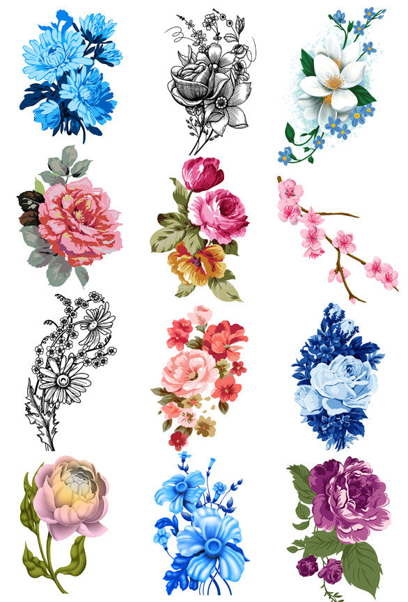 Vintage Flower Tattoo Set - Vintage Floral Tattoos