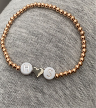 Load image into Gallery viewer, 14K Rose Gold Beaded Bracelets Personalized
