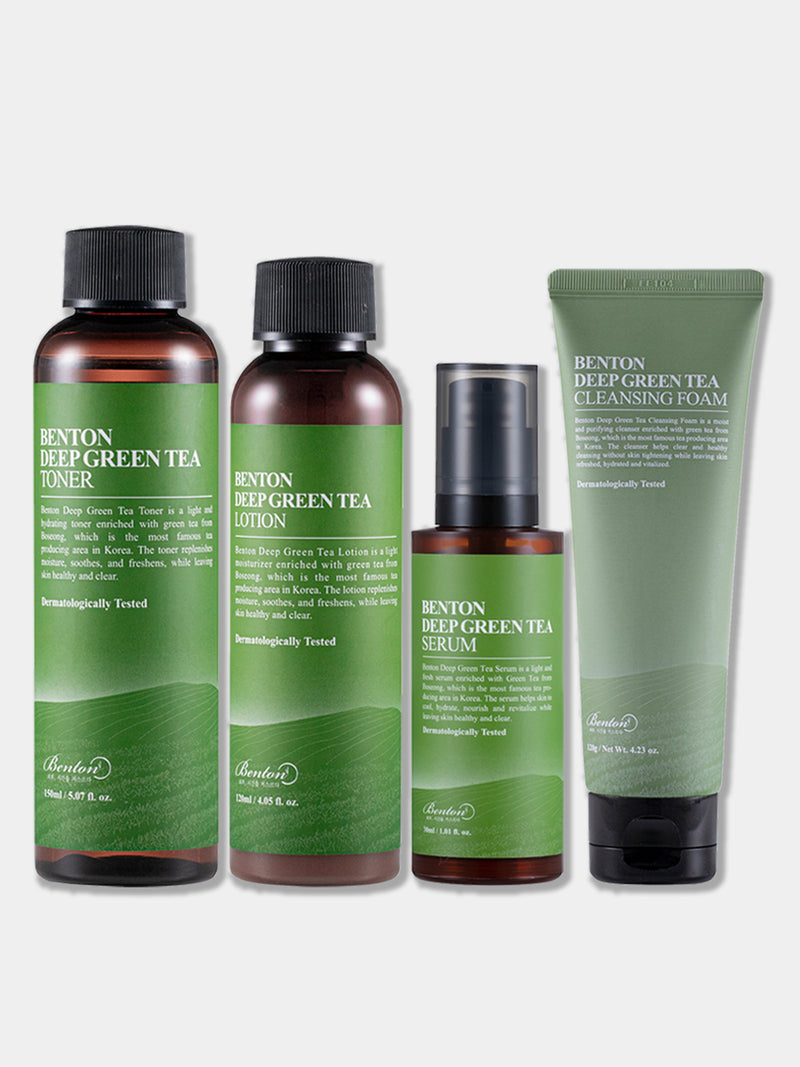 Deep Green Tea Set (DEEP GREEN TEA CLEANSING FOAM 120G + TONER 150ML + LOTION 120ML + SERUM 30ML )