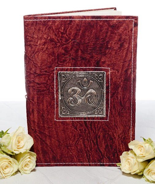 Large Handmade Recycled Notebook - OM Symbol - MysticSoul_108