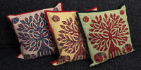 Cushion Cover - 100% Cotton - Green/Red/Blue - Tree/Elephants - MysticSoul_108
