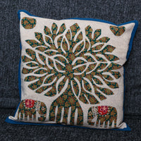 Cushion Cover - 100 % Cotton - Cream/Green/Blue/Red - Tree Of Life/Elephants - MysticSoul_108