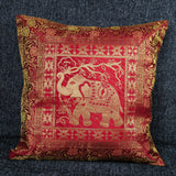 Cushion Cover - 100% Banarasi Silk - Red/Gold - Elephant - MysticSoul_108