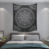 Double Cotton Bedspread/Wall Hanging - Black & White - Lotus Flower - MysticSoul_108