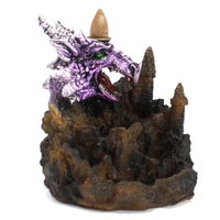 Back Flow Incense Burner - Ceramic - Purple Dragon - LED