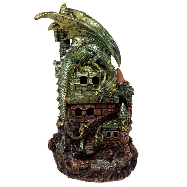 Back Flow Incense Burner - Ceramic - Dragon Castle - LED