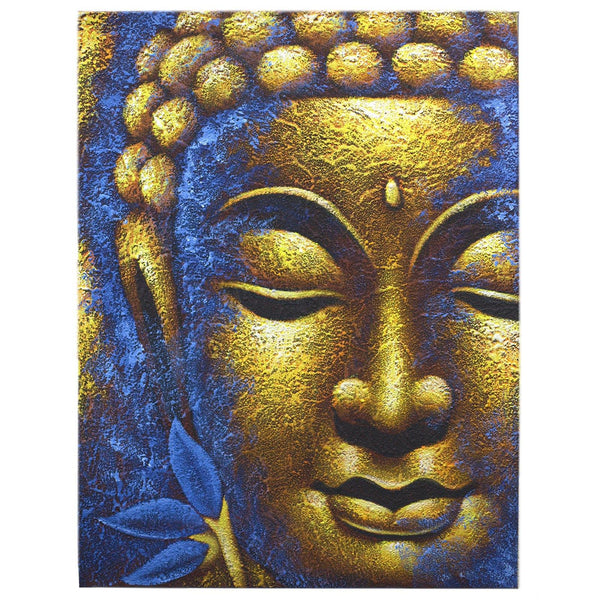 Buddha Painting - Gold Face & Lotus Flower - MysticSoul_108