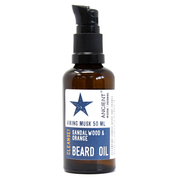 Natural Beard Oil - Viking Musk - Sandalwood & Orange - Cleanse - 50ml