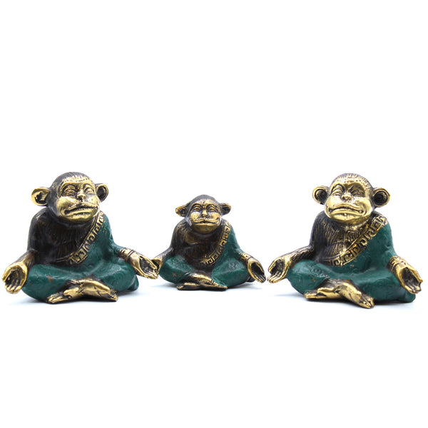 Handcrafted Brass Family Of Yoga Monkeys - Set Of 3