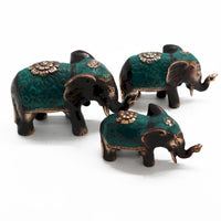 Handcrafted Brass Lucky Elephants - Set Of 3
