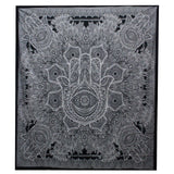 Double Cotton Bedspread/Wall Hanging - Black & White - Hamsa Hand - MysticSoul_108