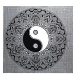 Double Cotton Bedspread/Wall Hanging - Black & White - Yin Yang - MysticSoul_108