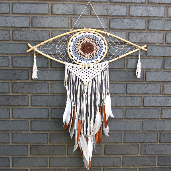 Macramé Dream Catcher - Evil Eye Protection - White/Grey/Brown  - Large