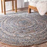 Jute & Denim Rug - Round - Multicoloured - Small - 90cm