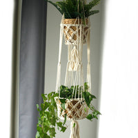 Macramé Plant Pot Holder - Double Small Pot