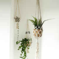 Macramé Plant Pot Holder - Large Beaded Single Pot