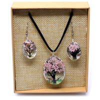 Pressed Flower Jewellery - Tree Of Life - Necklace & Earing Set - Pink