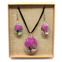 Pressed Flower Jewellery - Tree Of Life - Necklace & Earing Set - Bright Pink