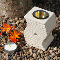 Hand Crafted Sandstone Oil Burners - Stepped Wave - MysticSoul_108