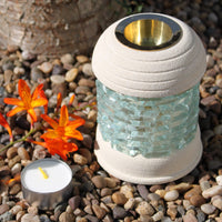 Hand Crafted Sandstone Oil Burners - Round Glass Brick