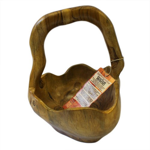 Hand Carved Teak Root Bowls - Medium Back Handle Bowl - 25cm