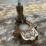 Hand Crafted Backflow Burner - Mango Wood - OM - MysticSoul_108