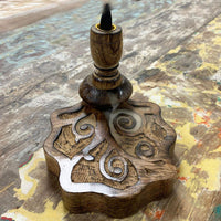 Hand Crafted Backflow Incense Burner - Mango Wood - Tree Of Life - MysticSoul_108