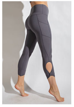 Knotted Pocket Capris Charcoal
