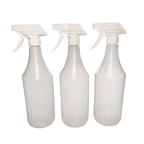 3 Pack 32 Ounce Round Plastic Spray Bottles with White 100% Recyclable Trigger Sprayers