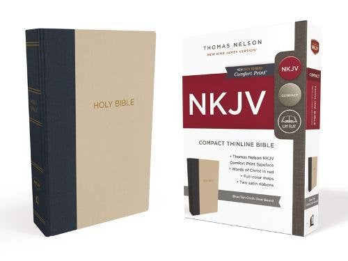 NKJV THINLINE COMPACT BIBLE BLUE/TAN CLOTH OVER BOARD