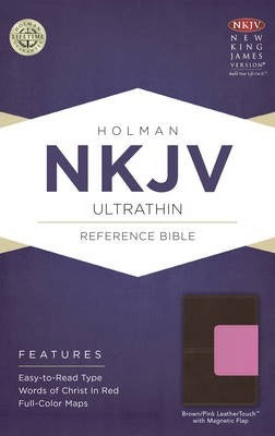 NKJV ULTRATHIN REF BIBLE BROWN/PINK, MAGNETIC FLAP
