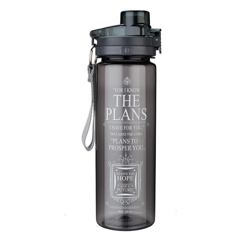 BLACK PLASTIC WATER BOTTLE-PLANS JEREMIAH 29:11