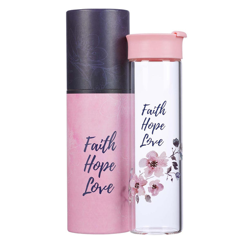 Water Bottle Glass-Faith Hope Love