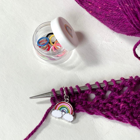 Use stitch markers to track your rows in your knitting project