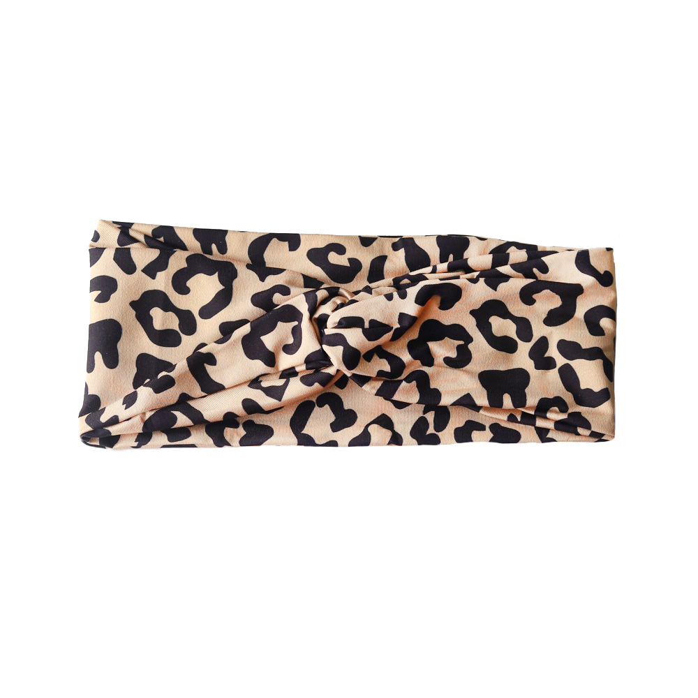 Leopard Twist Headband with Buttons