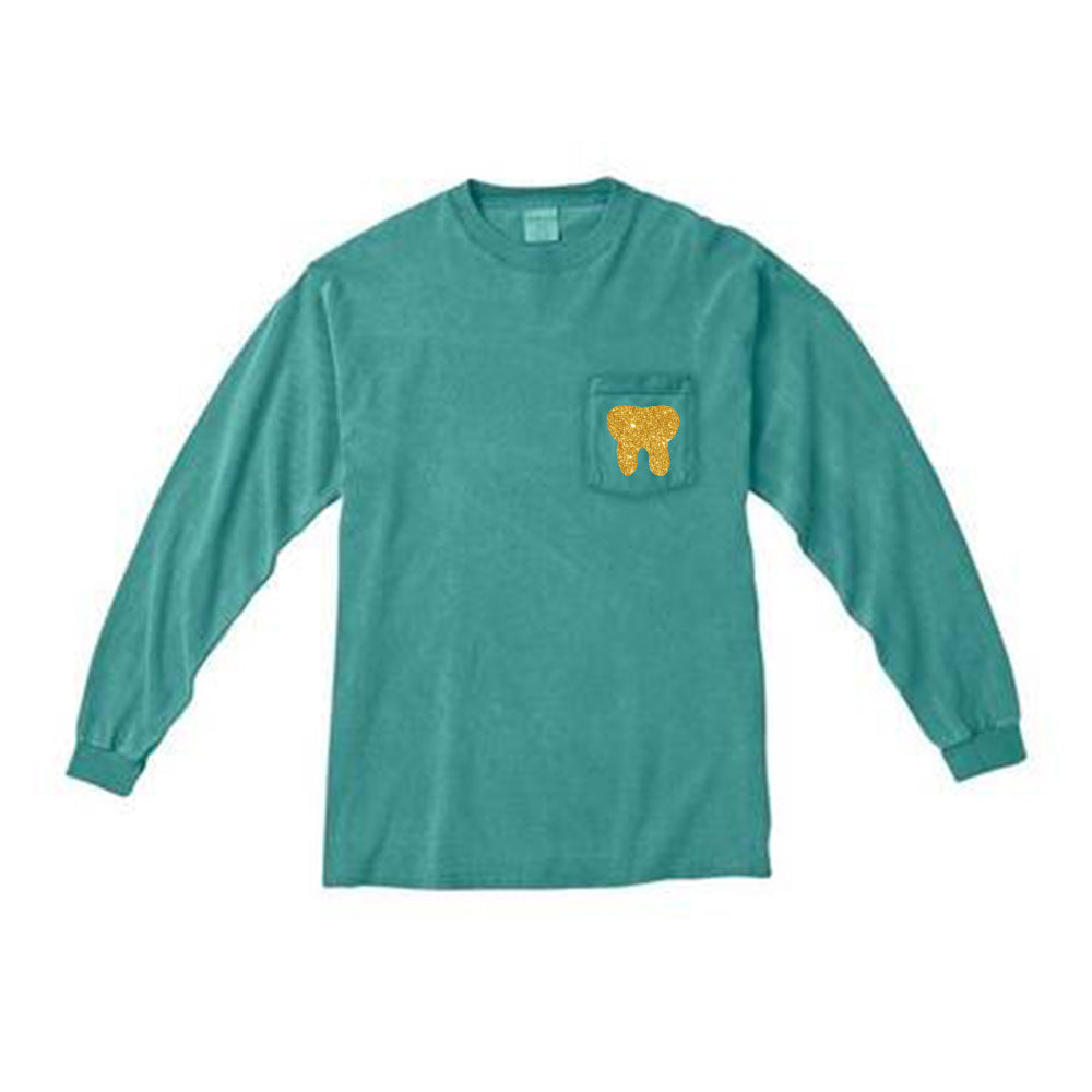 Sparkle Tooth Campus Tee - Green