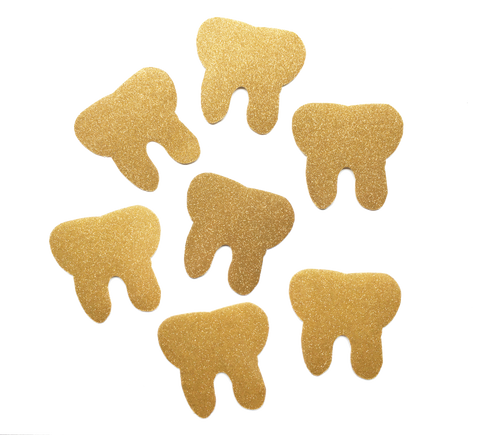 Vinyl Gold Sparkle Tooth Sticker