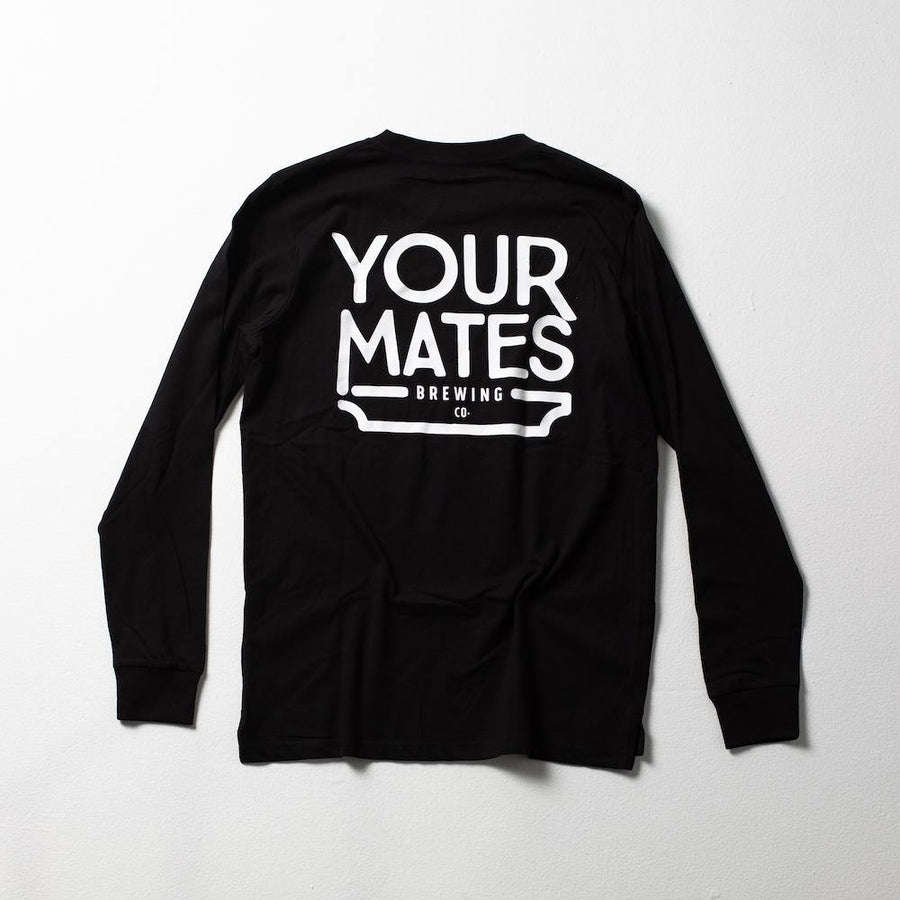 Long Sleeve Logo Tee | Black & White - Your Mates Brewing