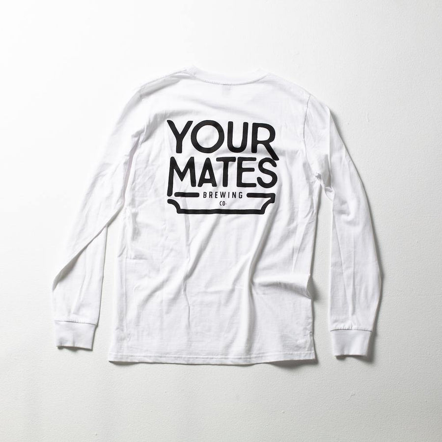 Long Sleeve Logo Tee | White & Black - Your Mates Brewing