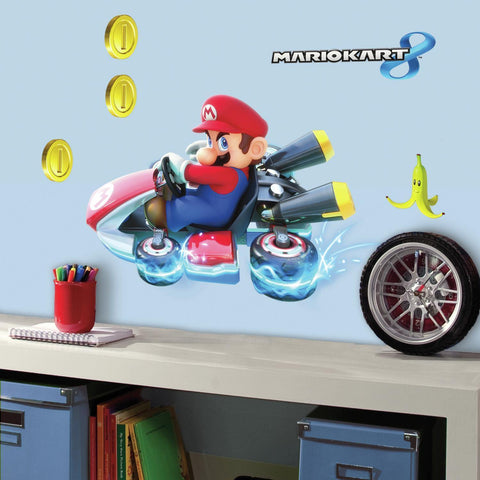 Licensed Nintendo Giant MARIO KART 8 Wall Decals Room Decor Stickers Video Game COINS NEW - EonShoppee
