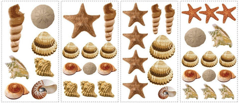 SEA SHELLS Wall Stickers 41 Decals beach ocean starfish bathroom room decor - EonShoppee