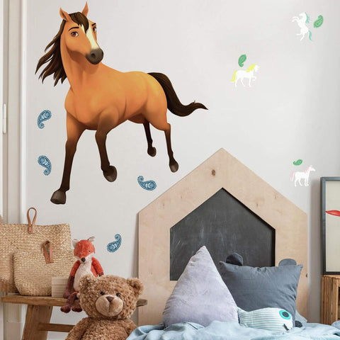 New Spirit Riding Free Peel & Stick Giant Wall Decals Running Horse Mural Room Stickers