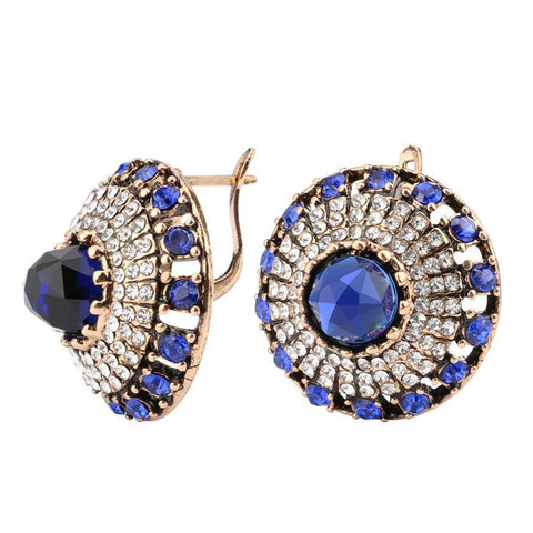Glamorous Royal Blue Crystal Fashion Jewelry Cocktail Evening Dress Earrings - EonShoppee