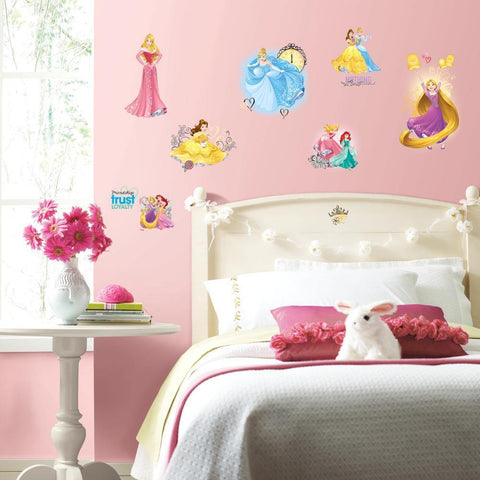 PRINCESS FRIENDSHIP ADVENTURES Wall Decals 25 DISNEY Stickers - CINDERELLA Ariel  RAPUNZEL BELLE Room Decor