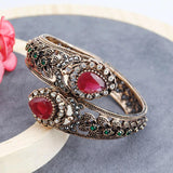 Antique Bronze Plated Ethnic Wedding Charm Bracelet Bangle Hinge Open Turkish Style Fashion Jewelry - EonShoppee