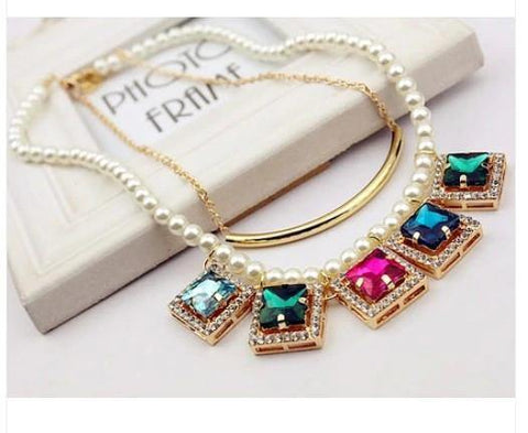 Hot Selling Multicolor Imitation Pearl Women Choker Statement Necklace & Pendant Charm Fashion Jewelry - EonShoppee