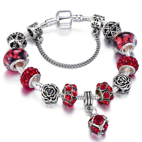 Genuine 925 Silver Plated Red Crystal Beads Flower Charm Bracelet Fashion Jewelry
