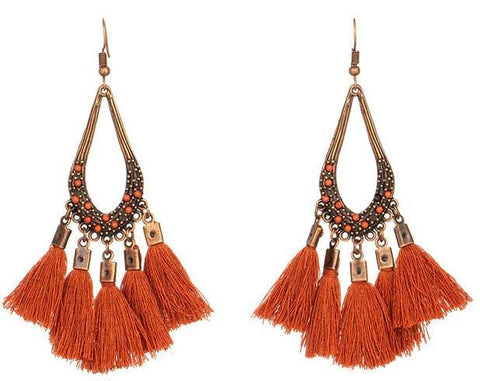 Vintage Style Cute Water Drop Cotton Fringe Drop Dangle TASSEL Earrings Fashion Jewelry - EonShoppee