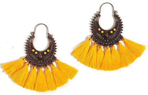 Ethnic Vintage Style Fringe Statement Yellow Tassel Earrings Charm Fashion Jewelry - EonShoppee