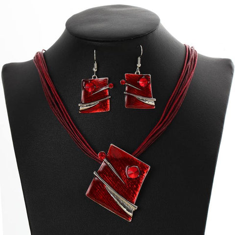 Red Multilayer Leather Chain Pendant Necklaces with Drop Dangle Earrings Fashion Jewelry Set - EonShoppee